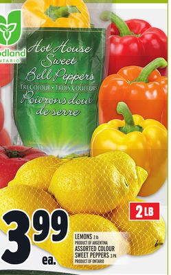 Lemons 2 Lb Product Of Argentina Assorted Colour Sweet Peppers 3 Pk Product Of Ontario