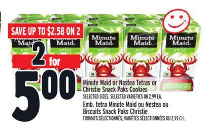 Minute Maid or Nestea Tetras or Christie Snack Paks Cookies