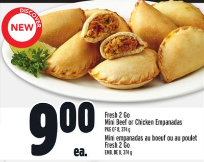 Fresh 2 Go Mini Beef or Chicken Empanadas