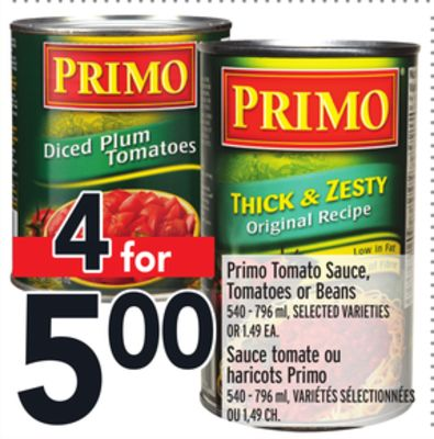 Primo Tomato Sauce - Tomatoes or Beans