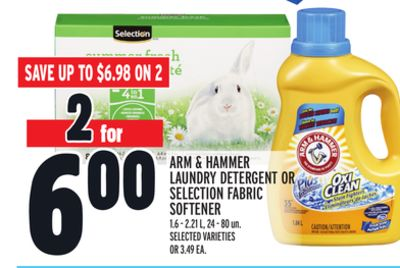 Arm & Hammer Laundry Detergent Or Selection Fabric Softener