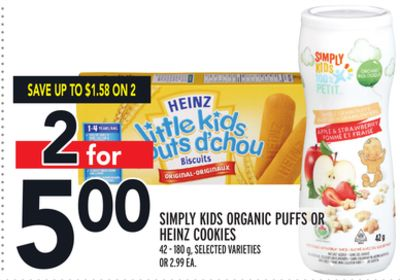 Simply Kids Organic Puffs Or Heinz Cookies
