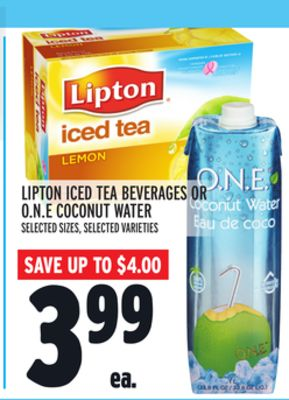 Lipton Iced Tea Beverages Or O.n.e Coconut Water
