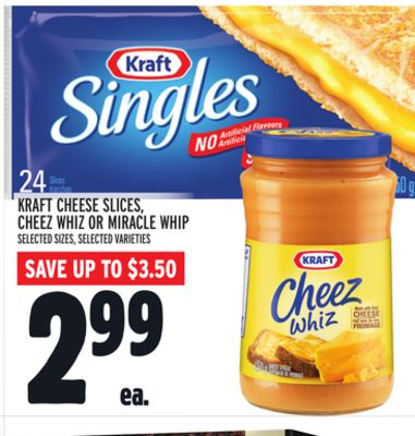 Kraft Cheese Slices - Cheez Whiz Or Miracle Whip
