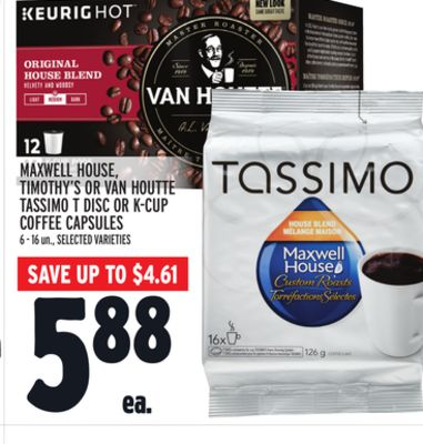 Maxwell House - Timothy's Or Van Houtte Tassimo T Disc Or K-cup Coffee Capsules