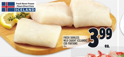 Fresh Skinless Wild Caught Icelandic Cod Portions
