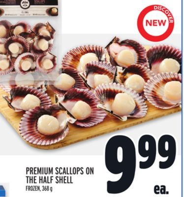 Premium Scallops On The Half Shell
