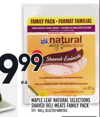 Maple Leaf Natural Selections Shaved Deli Meats Family Pack