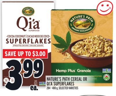 Nature's Path Cereal Or Qi'a Superflakes