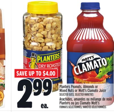 Planters Peanuts - Almonds or Mixed Nuts or Mott's Clamato Juice