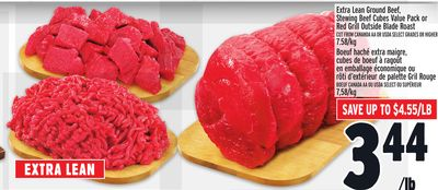 Extra Lean Ground Beef - Stewing Beef Cubes Value Pack or Red Grill Outside Blade Roast
