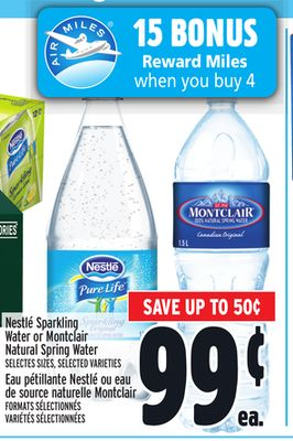 Nestlé Sparkling Water or Montclair Natural Spring Water