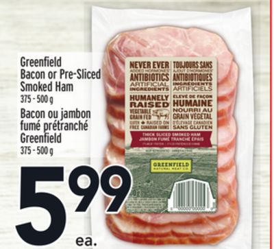 Greenfield Bacon or Pre-sliced Smoked Ham