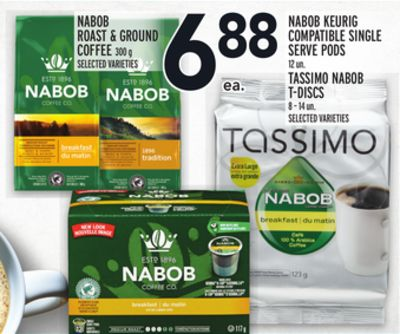 Nabob Roast & Ground Coffee 300 g - Nabob Keurig Compatible Single Serve PODS 12 Un. Tassimo Nabob T-discs 8 – 14 Un.