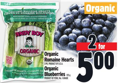 Organic 2 For500 3 Pk - Product Of U.s.a. Organic Romaine Hearts Organic Blueberries 125 g