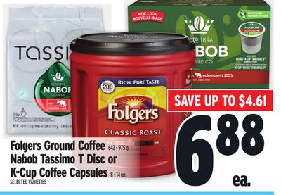 Folgers Ground Coffee 642 - 975 g Nabob Tassimo T Disc or K?cup Coffee Capsules 8 - 14 Un