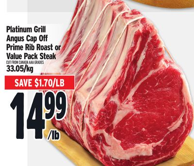Platinum Grill Angus Cap Off Prime Rib Roast or Value Pack Steak
