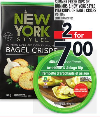 Summer Fresh Dips Or Hummus & New York Style Pita Chips Or Bagel Crisps