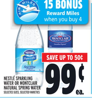 Nestle Sparkling Water Or Montclair Natural Spring Water
