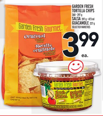 Garden Fresh Tortilla Chips 368-397 g Salsa 397 G-473 ml Guacamole 227