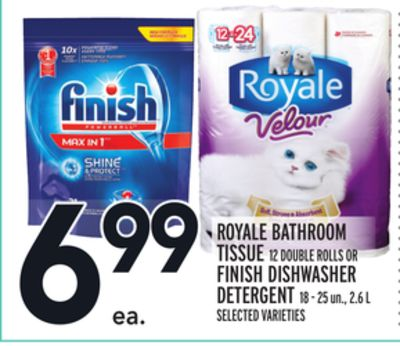 Royale Bathroom Tissue Or Finish Dishwasher Detergent
