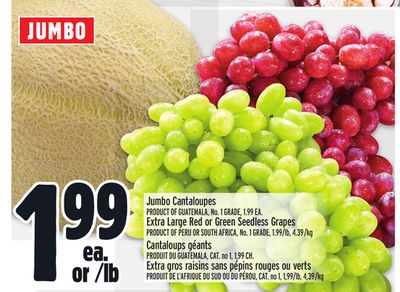 Jumbo Cantaloupes - Extra Large Red or Green Seedless Grapes