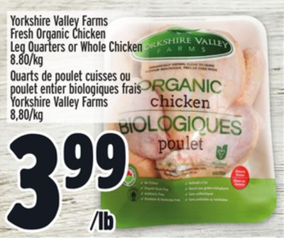 Yorkshire Valley Farms Fresh Organic Chicken Leg Quarters or Whole Chicken