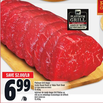 Platinum Grill Angus Inside Round Roast or Value Pack Steak