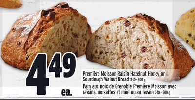 Première Moisson Raisin Hazelnut Honey or Sourdough Walnut Bread