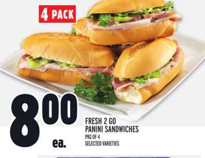 Fresh 2 Go Panini Sandwiches