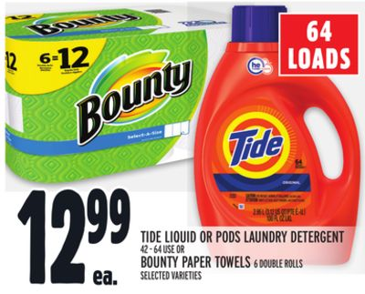 Tide Liquid Or PODS Laundry Detergent or Bounty Paper Towels