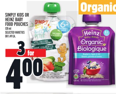 Simply Kids Or Heinz Baby Food Pouches