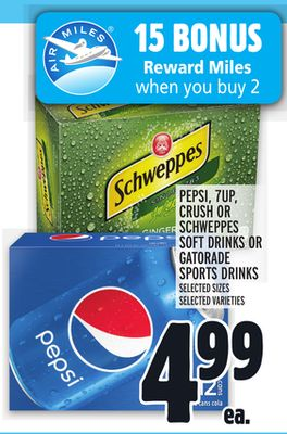 Pepsi - 7up - Crush Or Schweppes Soft Drinks Or Gatorade Sports Drinks