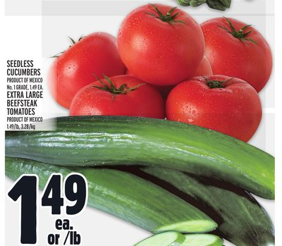 Seedless Cucumbers - Extra Large Beefsteak Tomatoes