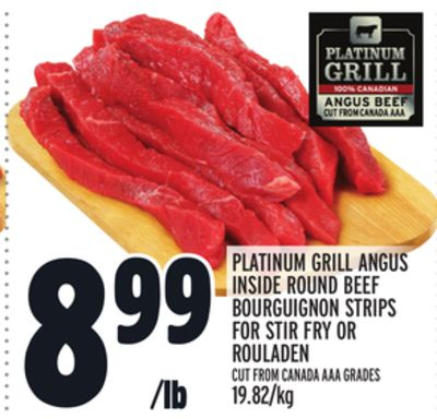 Platinum Grill Angus Inside Round Beef Bourguignon Strips For Stir Fry Or Rouladen