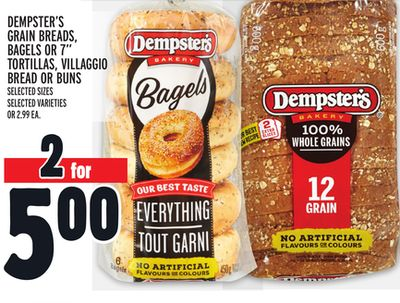 Dempster's Grain Breads - Bagels Or 7'' Tortillas - Villaggio Bread Or Buns