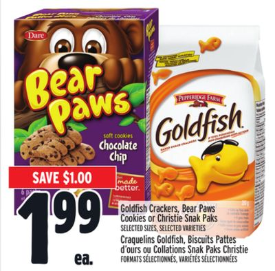 Goldfish Crackers - Bear Paws Cookies or Christie Snak Paks