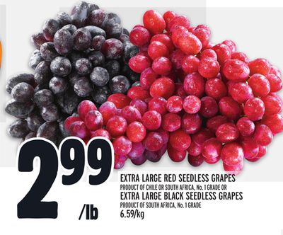 Extra Large Red Seedless Grapes Or Extra Large Black Seedless Grapes