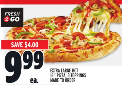 Extra Large Hot 16'' Pizza - 3 Toppings Made To Order