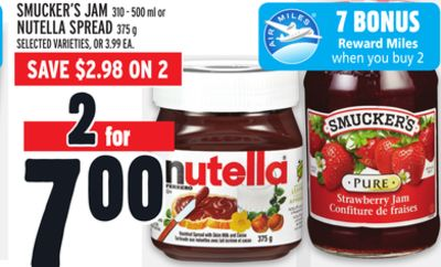 Smucker's Jam 310 - 500 ml or Nutella Spread 375 g