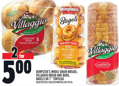 Dempster's Whole Grain Breads - Villaggio Bread And Buns - Bagels Or 7'' Tortilas