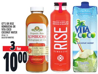 Gt's Or Rise Kombucha Or Vita Coco Coconut Water