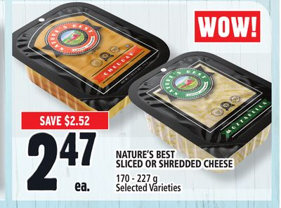 Nature's Best Sliced Or Shredded Cheese