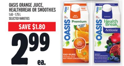 Oasis Orange Juice - Healthbreak Or Smoothies