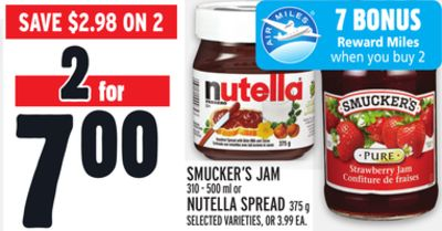 Smucker's Jam Or Nutella Spread