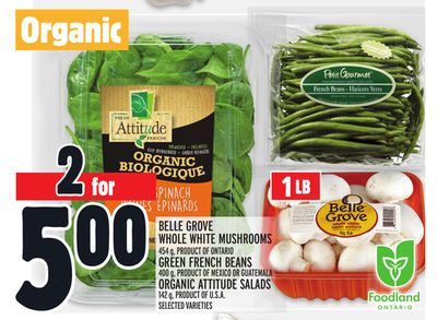 Belle Grove Whole White Mushrooms 454 g - Product Of Ontario Green French Beans 400 g - Product Of Mexico Or Guatemala Organic Attitude Salads 142 g - Product Of U.S.A.