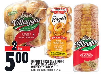 Dempster's Whole Grain Breads - Villaggio Bread And Buns - Bagels Or 7'' Tortillas