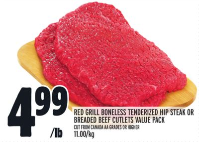 Red Grill Boneless Tenderized Hip Steak Or Breaded Beef Cutlets Value Pack