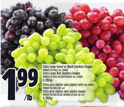 Extra Large Green or Black Seedless Grapes Product Of Chile - No. 1 Grade Extra Large Red Seedless Grapes Product Of Chile Or South Africa - No. 1 Grade