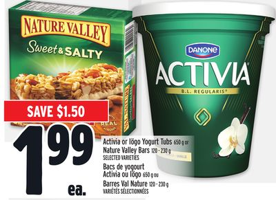Activia or Iögo Yogurt Tubs 650 g or Nature Valley Bars 120 - 230 g